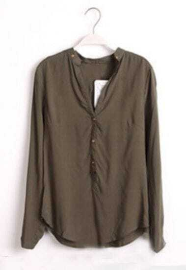 Green Long Sleeve Buttons Embellished Blouse