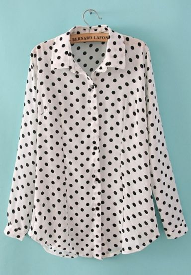 White Long Sleeve Polka Dot Chiffon Blouse