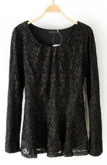 Black Long Sleeve Hollow Lace Blouse
