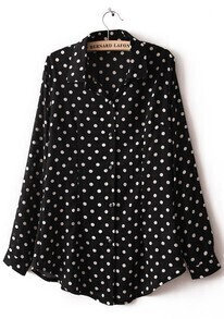 Black Long Sleeve Polka Dot Chiffon Blouse