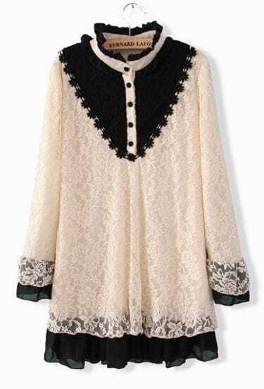 White Buttons Embellished Embroidery Lace Dress