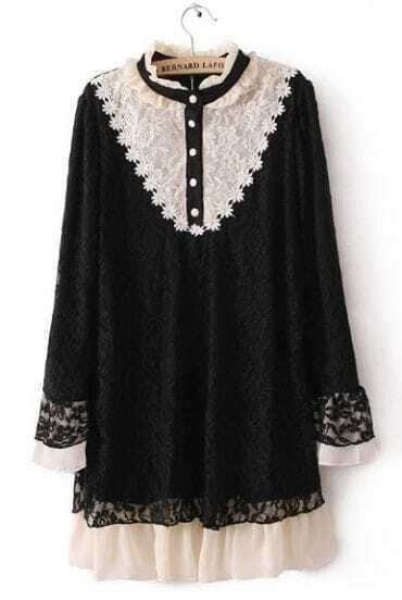 Black Buttons Embellished Embroidery Lace Dress