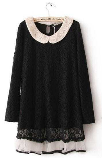 Black Long Sleeve Embroidery Lace Embellished Dress