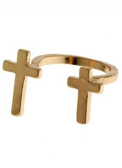 Gold Double Cross Ring