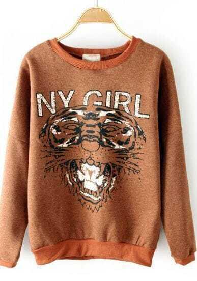 Coffee Round Neck NY GIRL Tiger Print Sweatshirt