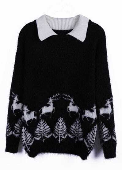 Black Contrast Collar Deer Pattern Shaggy Sweater