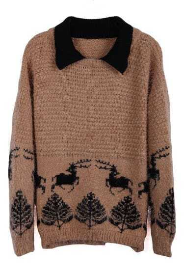 Apricot Contrast Collar Deer Pattern Shaggy Sweater