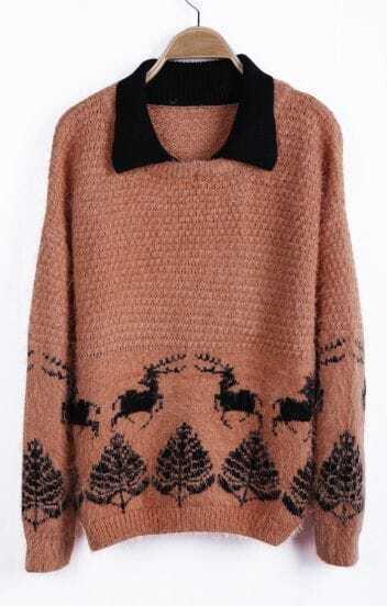 Peach Contrast Collar Deer Pattern Shaggy Sweater