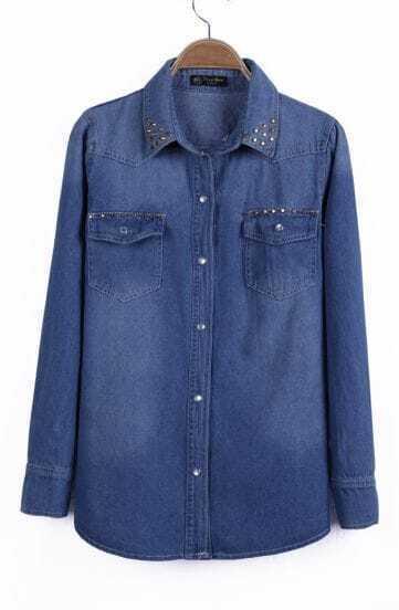 Blue Studded Embellished Collar Double Pockets Denim Blouse