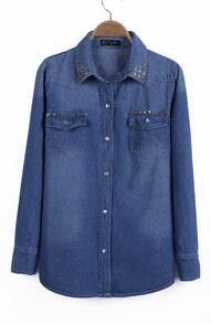 Blue Studded Embellished Collar Double Pockets Denim Blouse