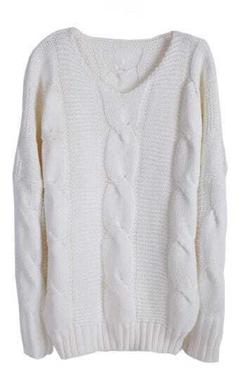 White Batwing Long Sleeve V-neck Cable Sweater