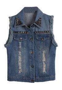 Blue Studded Embellished Collar Frayed Denim Vest