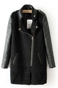 Black Contrast Leather Quilted Sleeve Zipper Coat -SheIn(Sheinside)