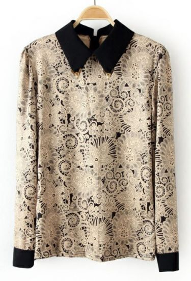Khaki Metal Embellished Lapel Floral Blouse