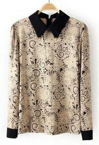 Khaki Metal Embellished Lapel Floral Blouse