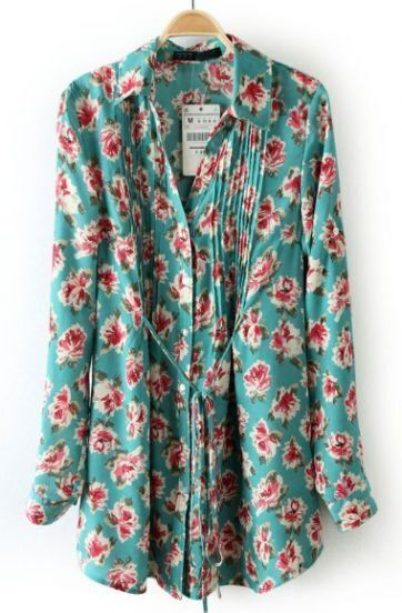 Light Blue Drawstring Waist Floral Pleated Blouse