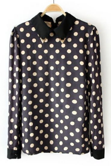 Black Metal Embellished Lapel Polka Dot Blouse