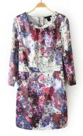 Purple Round Neck Back Zipper Floral Dress