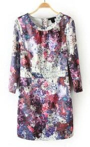 Purple Round Neck Back Zipper Floral Dress