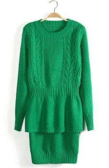 Green Long Sleeve Ruffles Bodycon Sweater Dress