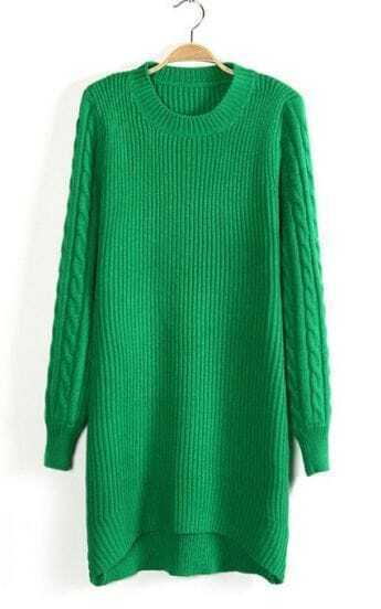 Green Cable Knit Puff Sleeve High-Low Sweater Dress