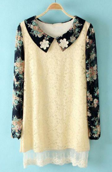 Beige Flowers Embellished Floral Lace Dress