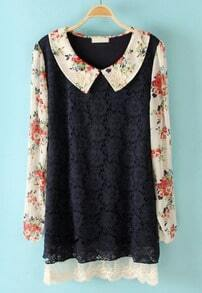 Navy Flowers Embellished Floral Lace Dress