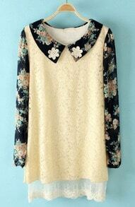 Beige Flowers Embellished Floral Lace Dress