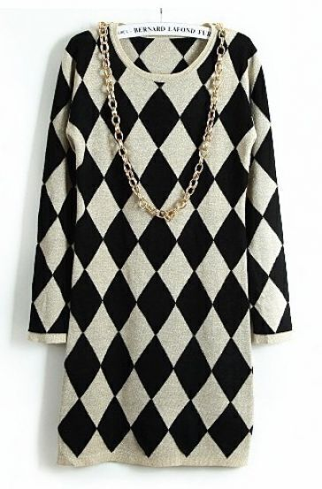Apricot Black Diamond Patterned Sweater Dress