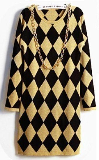 Yellow Black Diamond Patterned Sweater Dress