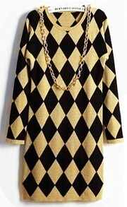 Yellow Black Diamond Patterned Sweater Dress