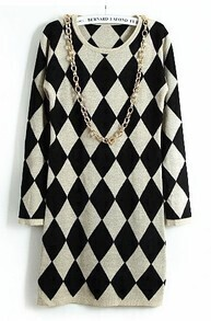 Apricot Black Diamond Patterned Sweater Dress