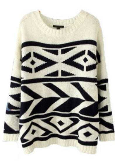 White Batwing Long Sleeve Geo Pattern Sweater