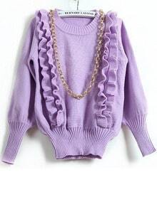 Light Purple Long Sleeve Ruffles Pullover Sweater
