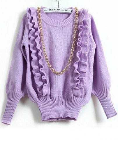Light Purple Long Sleeve Ruffles Pullover Sweater