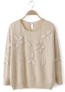 Beige Metallic Neckline Pearls Applique Shaggy Sweater