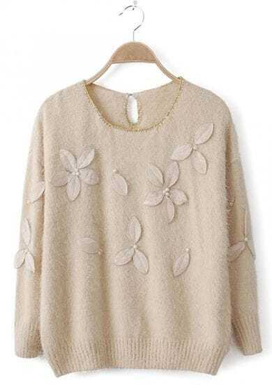 Beige Metallic Neckline Pearls Applique Shaggy Sweater