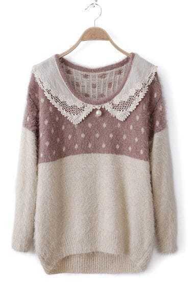 Light Purple White Crochet Collar Perals Fluffy Sweater