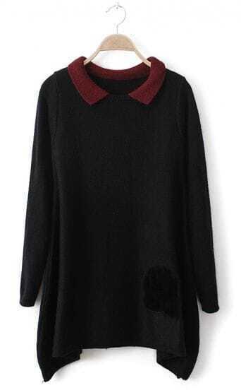 Black Contrast Collar Asymmetric Hem Fur Pocket Loose Sweater