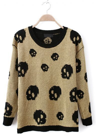 Gold Batwing Long Sleeve Skull Pattern Sweater