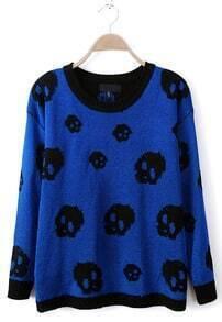 Blue Batwing Long Sleeve Skull Pattern Sweater