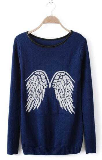 Blue Contrast Leather Round Neck Wing Pattern Sweater