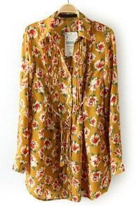Yellow Drawstring Waist Floral Pleated Blouse