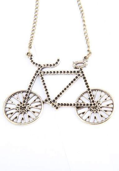 Retro Gold Rhinestone Bicycle Long Necklace