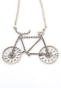 Retro Gold Rhinestone Bicycle Long Necklace