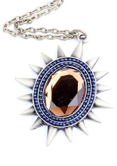 Hyacinth Rhinestone Spiker Long Necklace
