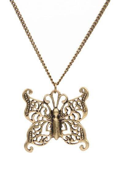 Retro Gold Hollow Out Butterfly Necklace