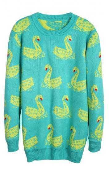 Green Long Sleeve Swan Pattern Pullover Sweater