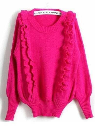 Rose Red Long Sleeve Ruffles Pullover Sweater
