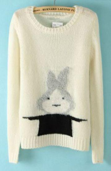 White Long Sleeve Rabbit Print Pullovers Sweater